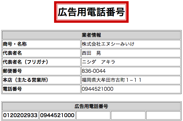株式会社エヌシーみいけ電話番号
